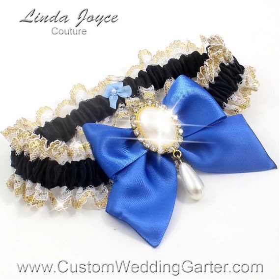 Items Similar To Black And Royal Blue WEDDING GARTER Pearl