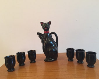 Shafford Black Cat Decanter with 6 Cups Bar Collectibles