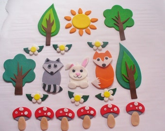 WOODLAND Animals Edible Fondant Cake Decorations