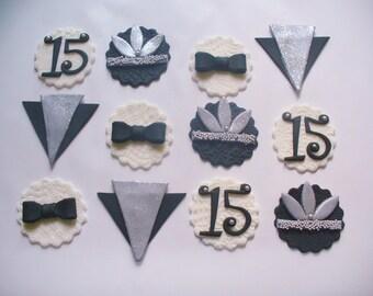 12 ART DECO GATSBY Theme Fondant Cupcake Toppers