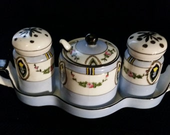 Condiment Set Noritake 175 Made in Japan 1920s Vintage Pale Blue