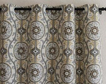 """Pair rod curtains drapery 50"""" wide panels drapes Magnolia Suzanni Metal 50x63 50x84 50x96 trellis curtains brown grey add lining grommets"""