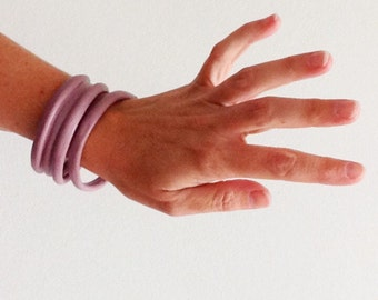 Boho Leather Bangles in Mauve Satin