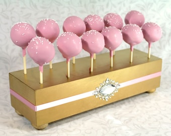 Gold Cake Pop Stand. Wedding Cake Pop Holder. Cake Pop Stand. Gold & Pink Wedding Decor. Cake Pop Display. Cake Pops. Lollipop Stand