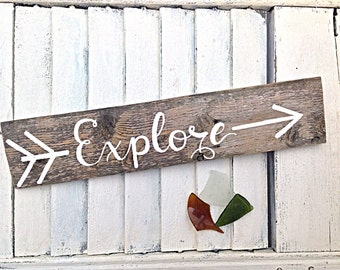 Inspirational Wall Art-Explore Reclaimed Wooden Sign-Beach House Sign and Travel Home Decor