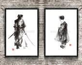Samurai and Geisha Poster Set of 2 Surreal Abstract Japanese Style Wall Decor Art