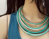 Colorful Necklace - Cotton Yarns Wrapped - Beaded - Street Hippie Fashion - Stylish Handmade Necklace-green necklace