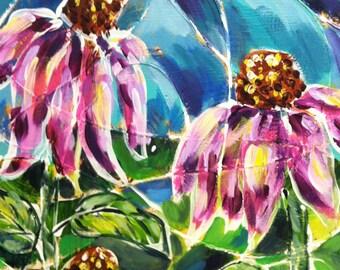 Purple Flowers original acrylic painting