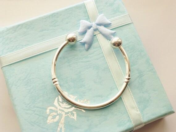 Baby Bangle Gift Box : Silver baby bangle boys torque in gift box or