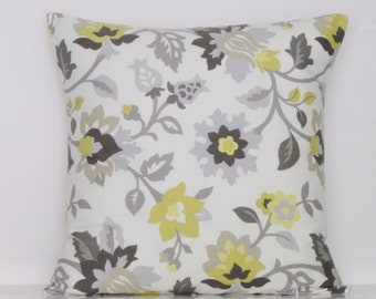 Gray Yellow Floral Pillow Cover, Yellow Pillow, Throw Pillow, Decorative Throw Pillow, Yellow Accent Pillow, 18x18, Ready To Ship