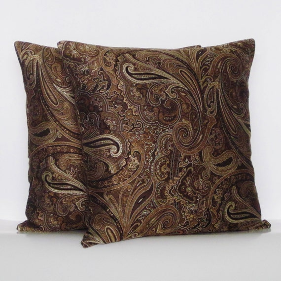 Brown Gold Paisley Pillow Covers Decorative Throw Cream Bronze