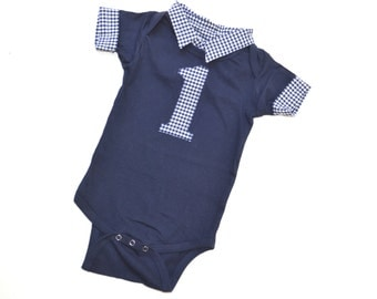 Baby Boy First Birthday Outfit, Short Sleeve First Birthday Onesie, Navy with Blue Gingham, Button Down with Collar