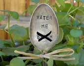 MATURE CONTENT -  Water Me B***H garden pick - hand stamped spoon - plant marker - garden marker for your planter bed gift for gardener