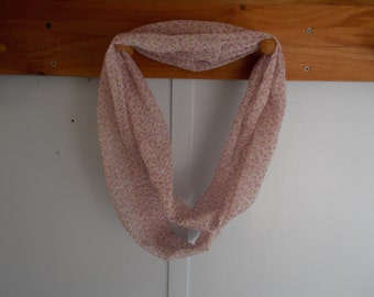 "Infinity Scarf. Cream with lavender flowers.  Approx 5"" x 72"".  Great light weight scarf to add  to your outfit."