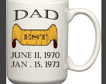 Custom Dad Mug with Birthdates
