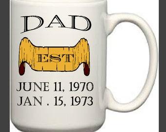 Custom Dad Mug with Birthdates