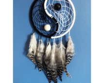 Yin Yang dream catcher, white & black web, striped rooster feathers 5 inch diameter dreamcatcher hand made unique