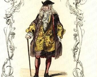 Antique Original  French Color Lithograph  Gorgeous details and  Boarders - Le Financier