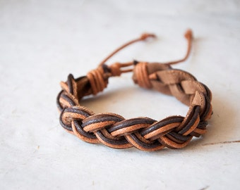 Bracelet with braided leather and cotton cord, gift ideas for men, summer accessories, bracelets for men and women, braided cuff