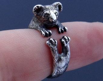 Koala Ring, Silver Koala, Sterling Silver, Koala Bear, Silver Koala Ring, Koala Jewelry, Animal Ring, Adjustable Ring, Animal Jewelry