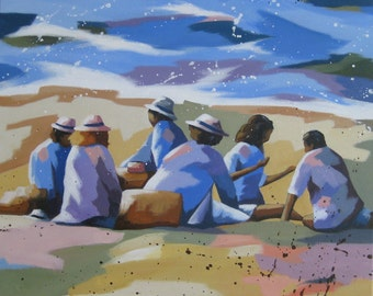 """original acrylic painting, landscape, Ocean and beach, """"late summer"""", free shipping"""