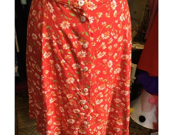 90's Floral A-line Skirt