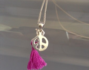 Necklace Peace silver 925 and Mini Pompon pink