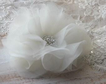 Ivory hair flower Organza hair flower Ivory wedding accessory Ivory bridal flower Ivory headpiece Ivory bride flower Silk organza flower