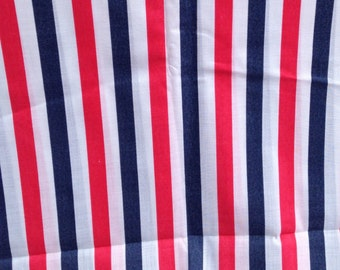 "Vintage Red, White and Blue Stripe Fabric  // 3 yards, 108x45"", 1980s, 80s > by the yard"
