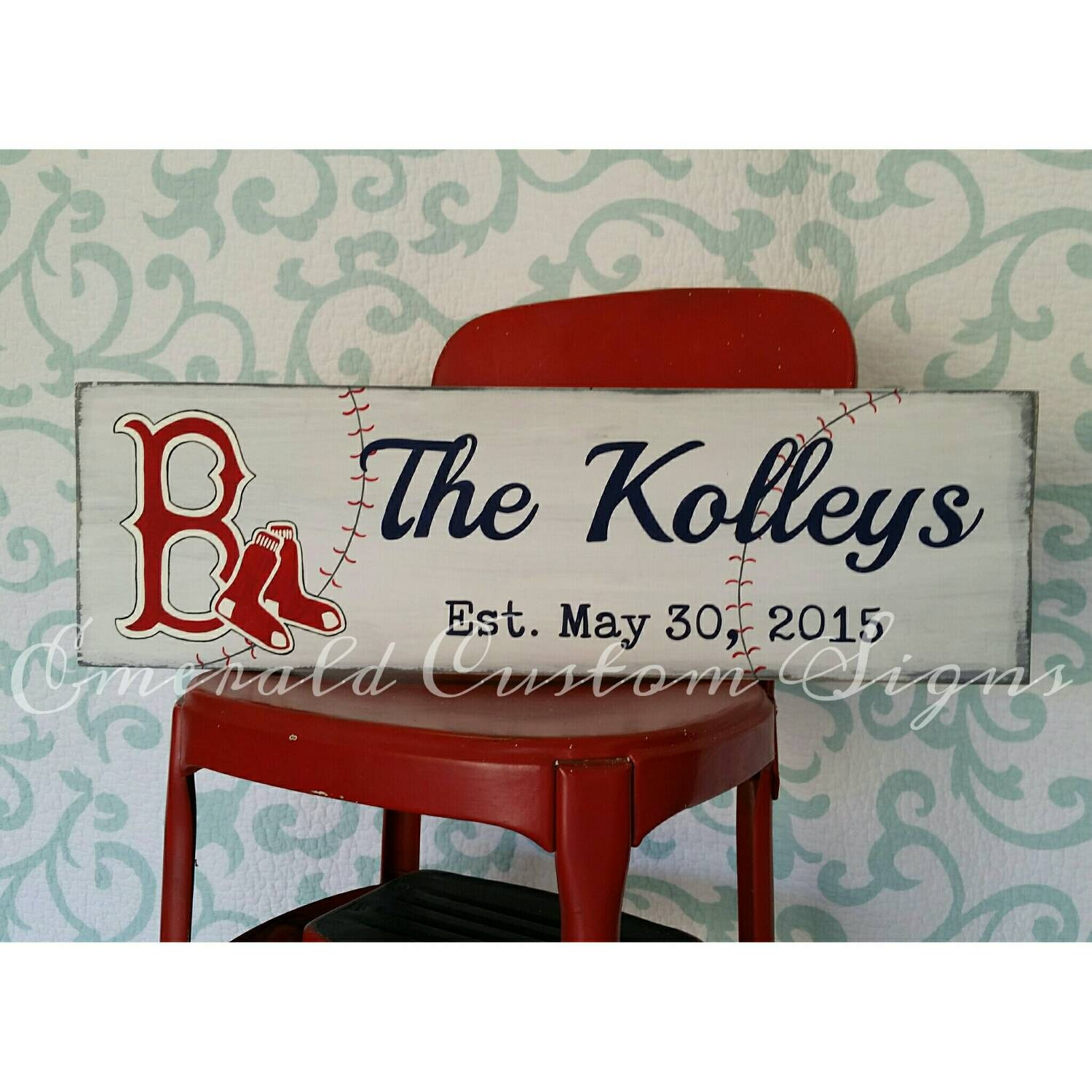 Baseball Wedding Gifts: Custom Baseball Team Family Name Sign. Custom Wedding Gift