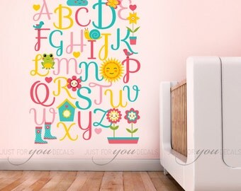 Girls Room Wall Decal - Alphabet Wall Decal - Nursery Wall Decal - Playroom Wall Decal - Play Room Wall Decal -Girls Room Wall Decal 01-0009