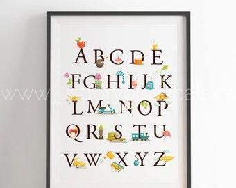 Alphabet Poster - Nursery Wall Art - Playroom Poster - Alphabet Wall Art - Alphabet Nursery Art - Alphabet Nursery - Nursery Art - 22-1002