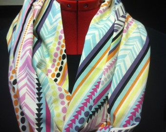 Diagonal Stripes of Bright Multi Colors Cotton Infinity Scarf