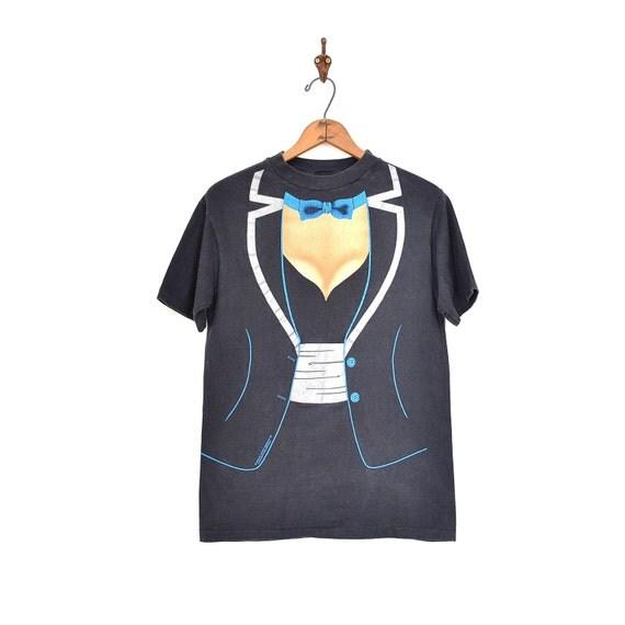 Tuxedo t shirt silk screened t shirt 80s gag tee shirt for Silk screen tee shirts online