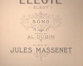 "1924 Sheet Music, ""Elegy"" (Elegie)"