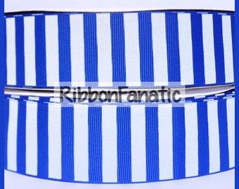 "5 yds 1.5"" Bright Electric Blue Candy Stripe Striped Grosgrain Ribbon"