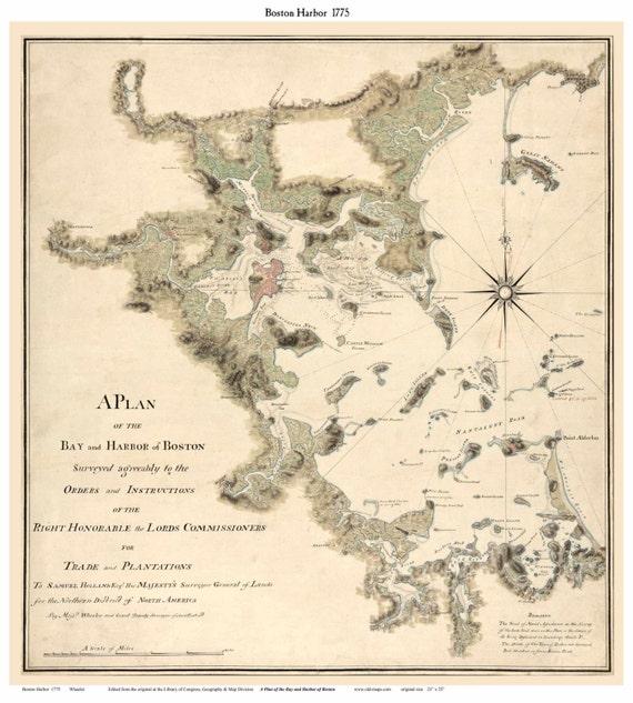 Boston Harbor MA 1775 Map Wheeler Grant Reprint