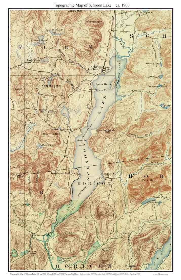Lake George Map Etsy - Nyc map topographic