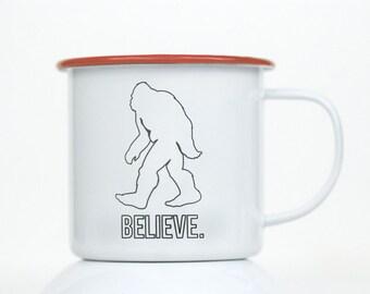 Engraved Enamel Mug.  Sasquatch, Big Foot Camping Mug. Great Gift idea for Coffee Lovers!