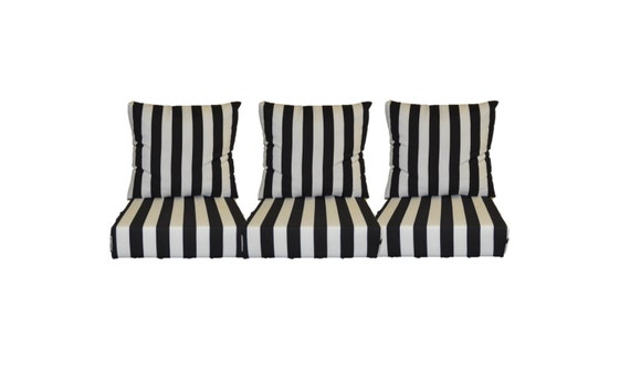 Black and White Stripe Cushions for Patio Outdoor Deep Seating