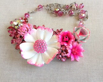 Repurposed vintage enamel flower necklace, pink flowers, white, crystals, upcycyle recycle repurpose, hot pink, reclaimed vintage jewelry