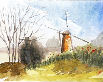 Mill and tree original watercolor painting landscape mill art netherlands landscape original netherlans art mill painting home deco