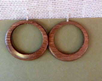 Wooden hoop earrings  , Wood earrings ,  Boho large lightweight wood earrings  - wood jewelry