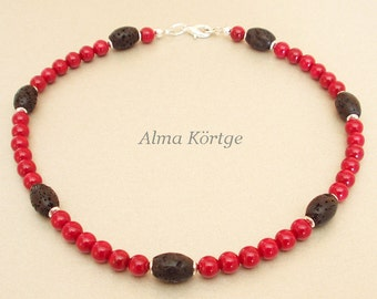 Necklace chain red coral and lava