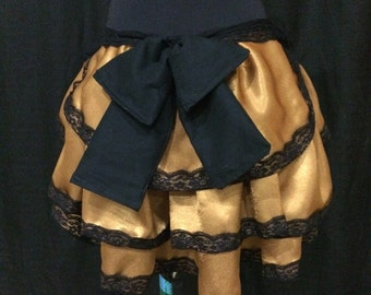SALE - Ready to ship  Gold and black bustle skirt