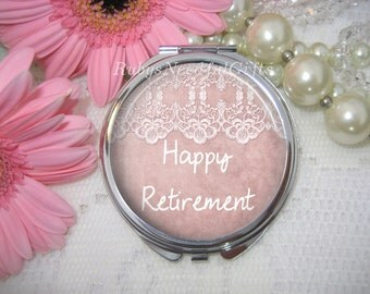 Retirement Compact Mirror, cosmetic, handbag or purse mirror, pocket Mirror,silver tone, Retirement gift, Lace.