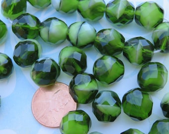 Olive and Vanilla Fused Glass, Czech 12mm fire polish, 12 Beads - Item 3206