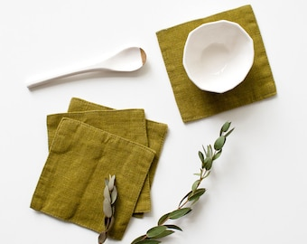 Set of 4 Moss Green Stone Washed Linen Coasters