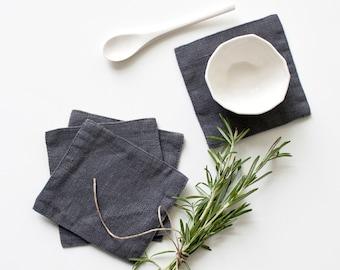 Set of 4 Dark Grey Stone Washed Linen Coasters