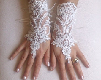 Ivory french lace gloves bridal gloves ivory lace gloves fingerless gloves free ship
